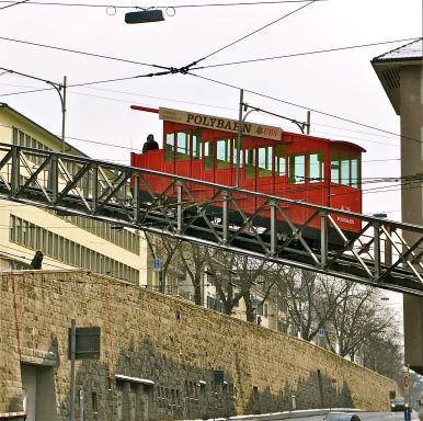 This is not a typical tram, just a cute little red train that takes Zurich's students to the University